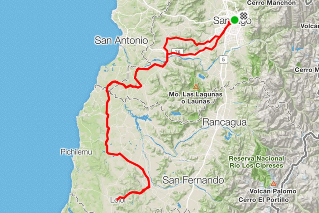 Die Route des Brevet 600km in Chile
