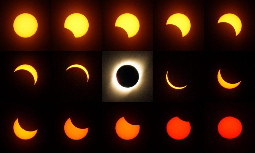 Stadien der Sonnenfinsternis 2019